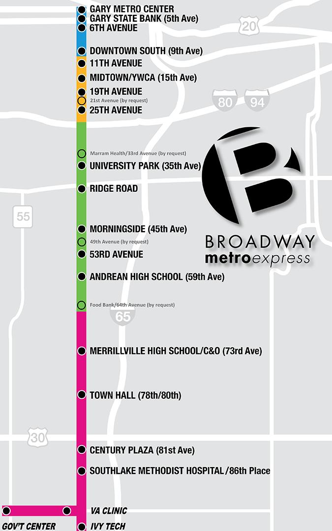 Broadway Metro Express Map