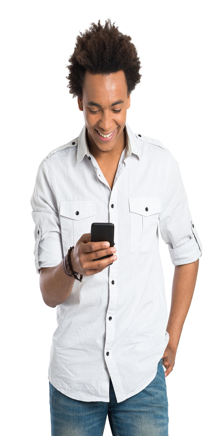 Young African Man With Cell Phone